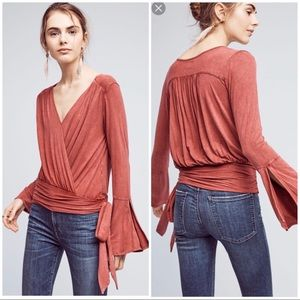Anthropologie Burgundy Wrapped Pullover L